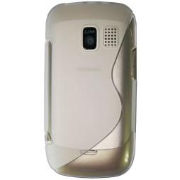 Nokia Asha 302 - Gumiran ovitek (TPU) - belo-prosojen SLine