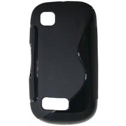 Nokia Asha 200 - Gumiran ovitek (TPU) - črn SLine