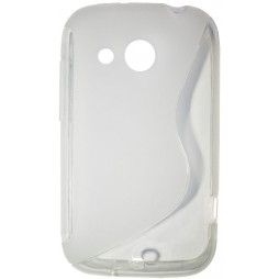 HTC Desire C - Gumiran ovitek (TPU) - belo-prosojen SLine