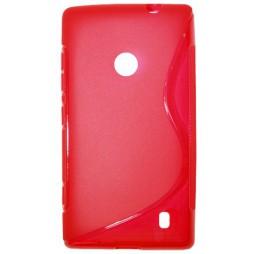 Nokia Lumia 520 - Gumiran ovitek (TPU) - rdeče-prosojen SLine