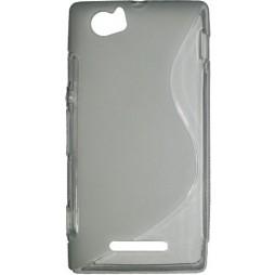 Sony Xperia M - Gumiran ovitek (TPU) - sivo-prosojen SLine