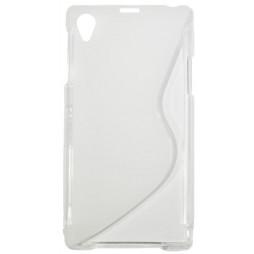 Sony Xperia Z1 - Gumiran ovitek (TPU) - belo-prosojen SLine