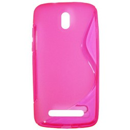 HTC Desire 500 - Gumiran ovitek (TPU) - roza-prosojen SLine