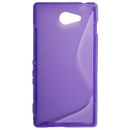 Sony Xperia M2 - Gumiran ovitek (TPU) - vijolično-prosojen SLine