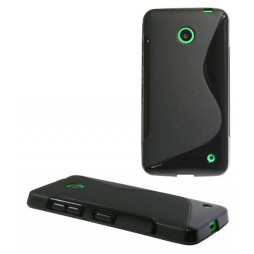 Nokia Lumia 630/635 - Gumiran ovitek (TPU) - črn SLine