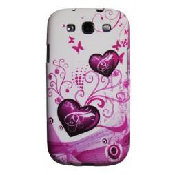 Samsung Galaxy S3 - Gumiran ovitek (TPUP) - White pink hearts