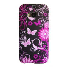 HTC One M8 - Gumiran ovitek (TPUP) - Pinky flowers dark