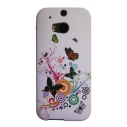 HTC One M8 - Gumiran ovitek (TPUP) - Black butterflys