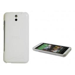 HTC Desire 610 - Gumiran ovitek (TPU) - belo-prosojen SLine