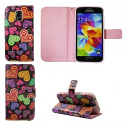 Samsung Galaxy S5 Mini - Preklopna torbica (WLGP) - Colorful hearts