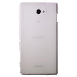 Sony Xperia M2 Aqua - Gumiran ovitek (TPU) - belo-prosojen mat