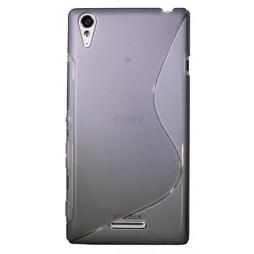 Sony Xperia T3 - Gumiran ovitek (TPU) - sivo-prosojen SLine