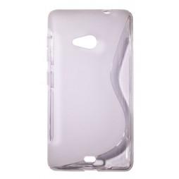 Microsoft Lumia 535 - Gumiran ovitek (TPU) - belo-prosojen SLine