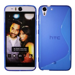 HTC Desire Eye - Gumiran ovitek (TPU) - modro-prosojen SLine