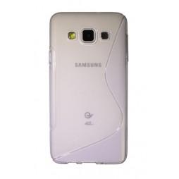 Samsung Galaxy A3 - Gumiran ovitek (TPU) - belo-prosojen SLine