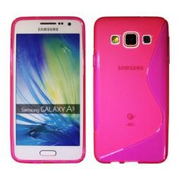 Samsung Galaxy A3 - Gumiran ovitek (TPU) - roza-prosojen SLine