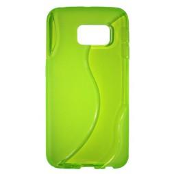 Samsung Galaxy S6 Edge - Gumiran ovitek (TPU) - zeleno-prosojen SLine