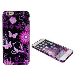 Apple iPhone 6/6S - Gumiran ovitek (TPUP) - Pinky flowers dark
