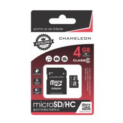 Chameleon Micro SD/HC Spominska kartica 4GB + adapter Class 6