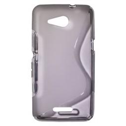 Sony Xperia E4g - Gumiran ovitek (TPU) - sivo-prosojen SLine