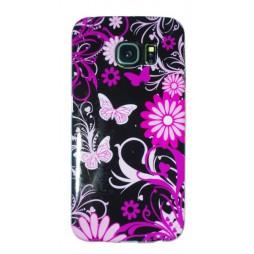 Samsung Galaxy S6 Edge - Gumiran ovitek (TPUP) - Pinky flowers dark
