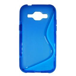 Samsung Galaxy J1 - Gumiran ovitek (TPU) - modro-prosojen SLine