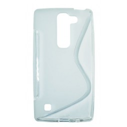 LG Spirit 4G LTE - Gumiran ovitek (TPU) - belo-prosojen SLine