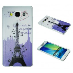 Samsung Galaxy A5 - Gumiran ovitek (TPUP) - Purple Eiffel tower
