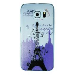 Samsung Galaxy S6 Edge - Gumiran ovitek (TPUP) - Purple Eiffel tower
