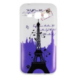 Samsung Galaxy J1 - Gumiran ovitek (TPUP) - Purple Eiffel tower