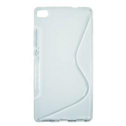 Huawei P8 - Gumiran ovitek (TPU) - belo-prosojen SLine