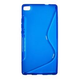 Huawei P8 - Gumiran ovitek (TPU) - modro-prosojen SLine