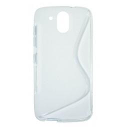 HTC Desire 526 - Gumiran ovitek (TPU) - belo-prosojen SLine