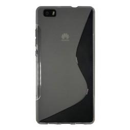 Huawei P8 Lite - Gumiran ovitek (TPU) - sivo-prosojen SLine