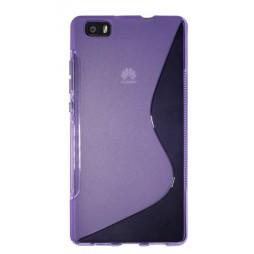 Huawei P8 Lite - Gumiran ovitek (TPU) - vijolično-prosojen SLine