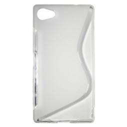 Sony Xperia Z5 Compact - Gumiran ovitek (TPU) - belo-prosojen SLine
