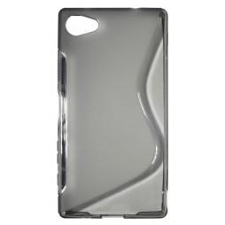 Sony Xperia Z5 Compact - Gumiran ovitek (TPU) - sivo-prosojen SLine