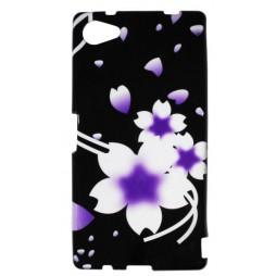 Sony Xperia Z5 Compact - Gumiran ovitek (TPUP) - Black-white flowers