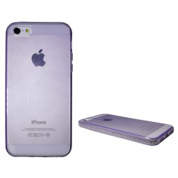 Apple iPhone 5/5S/SE - Gumiran ovitek (TPUD) - rob vijoličen