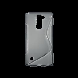 LG Stylus 2 - Gumiran ovitek (TPU) - sivo-prosojen SLine