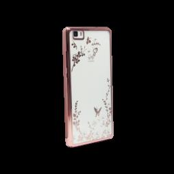 Huawei P8 Lite - Gumiran ovitek (TPUE) - roza rob - bele rožice