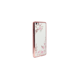 Huawei P8 Lite - Gumiran ovitek (TPUE) - roza rob - roza rožice