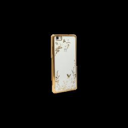 Huawei P8 Lite - Gumiran ovitek (TPUE) - zlat rob - bele rožice