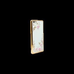 Huawei P8 Lite - Gumiran ovitek (TPUE) - zlat rob - roza rožice