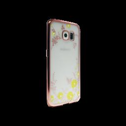 Samsung Galaxy S6 Edge - Gumiran ovitek (TPUE) - roza rob - rumene rožice
