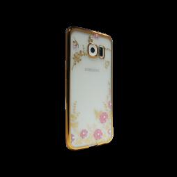 Samsung Galaxy S6 Edge - Gumiran ovitek (TPUE) - zlat rob - roza rožice