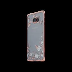 Samsung Galaxy S6 Edge Plus - Gumiran ovitek (TPUE) - roza rob - bele rožice