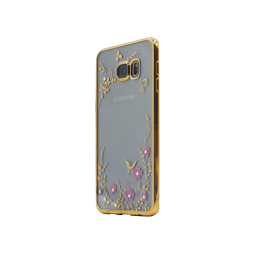Samsung Galaxy S6 Edge Plus - Gumiran ovitek (TPUE) - zlat rob - roza rožice