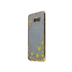Samsung Galaxy S6 Edge Plus - Gumiran ovitek (TPUE) - zlat rob - rumene rožice