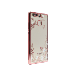 Huawei P9 - Gumiran ovitek (TPUE) - bela rožice